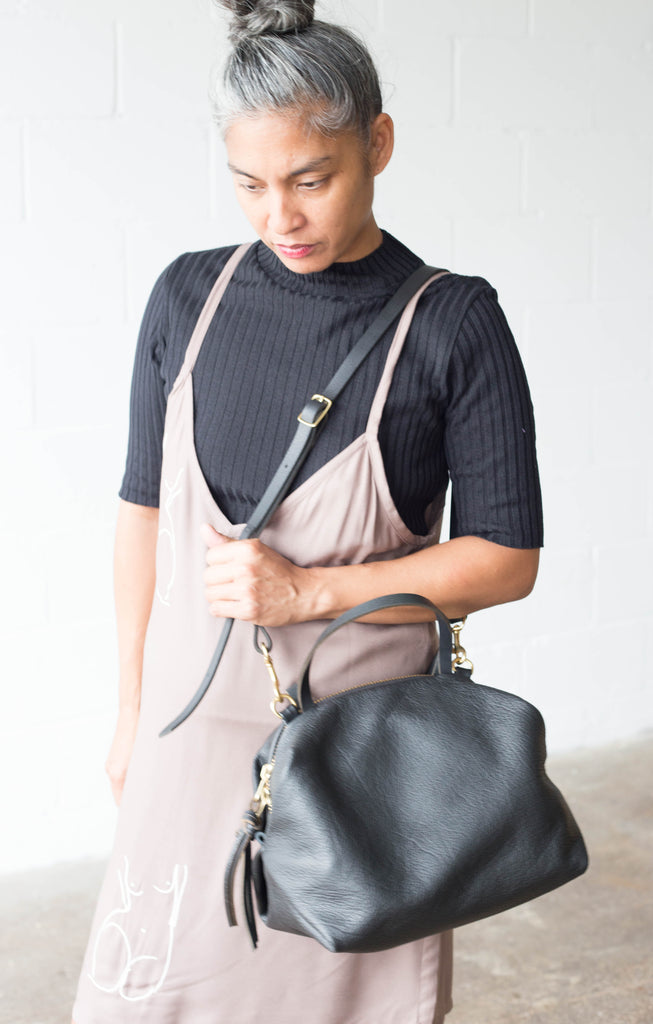 Eleven Thirty Shop Toronto Leather Bags Canadian Leather Bags Katie Bag XL extra large Black Purse Carry All Leather Bag Made in Toronto Canadian Fashion Victoire Boutique