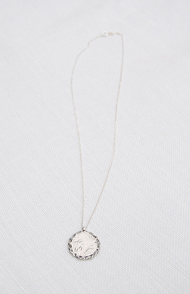 Hawkly Jewelry Toronto Medallion II Necklace Bronze or Silver. Short Minimalist Pendant Necklace.