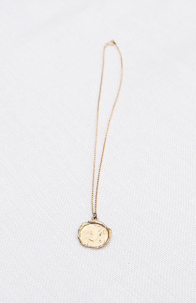 Hawkly Jewelry Toronto Medallion I Necklace Bronze or Silver. Minimalist Pendant Short Necklace.