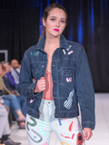 Victoria Brumwell Hand Painted Denim Jacket Made in Halifax One of a Kind Vintage Denim Jacket Hand Painted Canadian Fashion Victoire Boutique