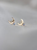 Little Gold Jewelry Victoria British Columbia Cassieopia Studs Moonstone in Gold Vermeil.