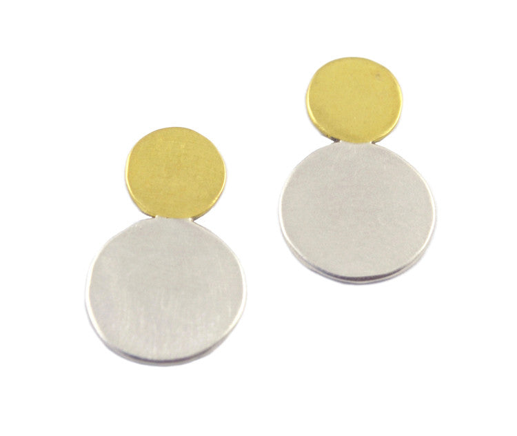 Natalie Joy Jewelry Portland Oregon Moonlet Studs in silver and brass ships from canada Moon inspired