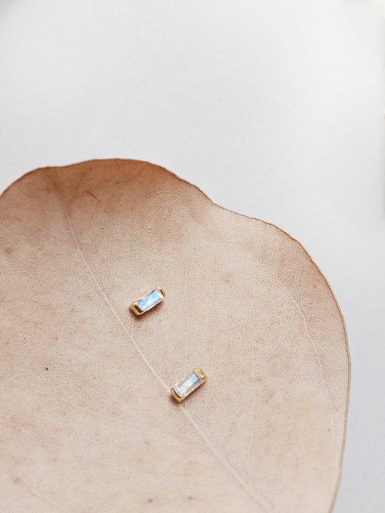 Little Gold Vesper Studs Moonstone Victoire Boutique Gold Vermeil Made in Canada BC Victoria Sustainable Jewellery Ethical Jewelry Good Quality Gold Studs Everyday Earrings