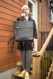 Eleven Thirty Handbags Toronto Canada Melissa Convertible Bag Two in One Shoulder Bag and Backpack. Black Leather Purse Backpack with Embossed Croc and Front Brass Zipper.