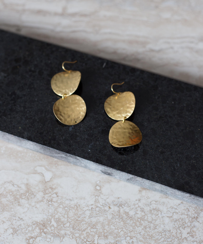 Sarah Mulder Jewelry Conquer Earrings in Gold MAde in Vancouver, BC Canadian Jewelry Design Victoire Boutique