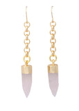Sarah Mulder Scorch Earrings (Long) Rose Quartz