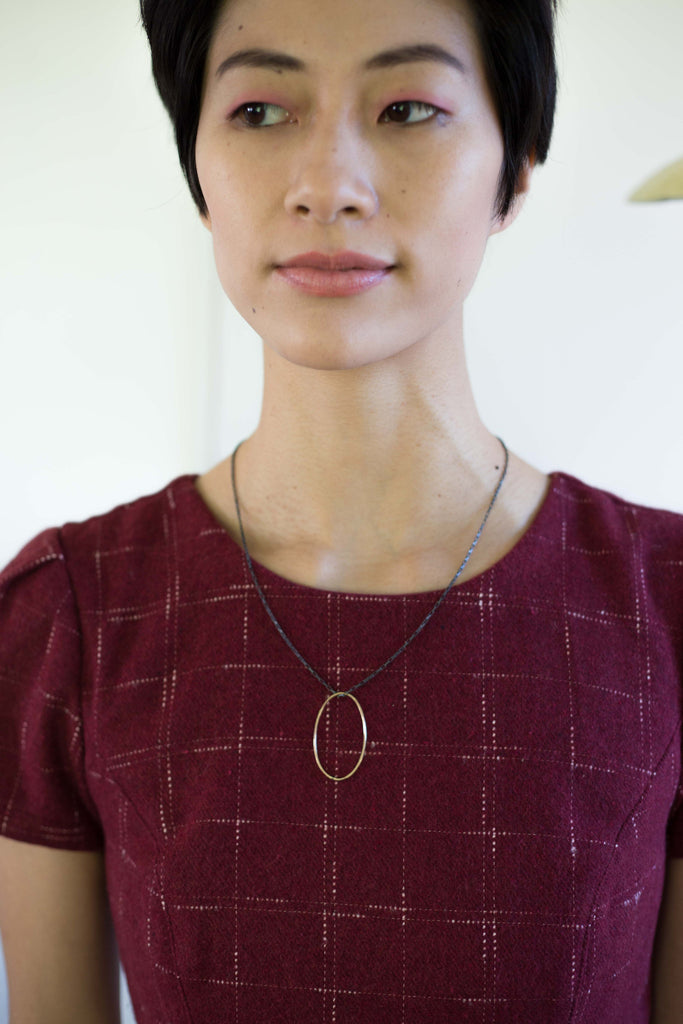 Ilsa Loves Rick Jewelry 14k Gold Fill Oval Necklace oxidized sterling silver chain made in Bucks County Pennsylvania Ships from Canada Victoire Boutique
