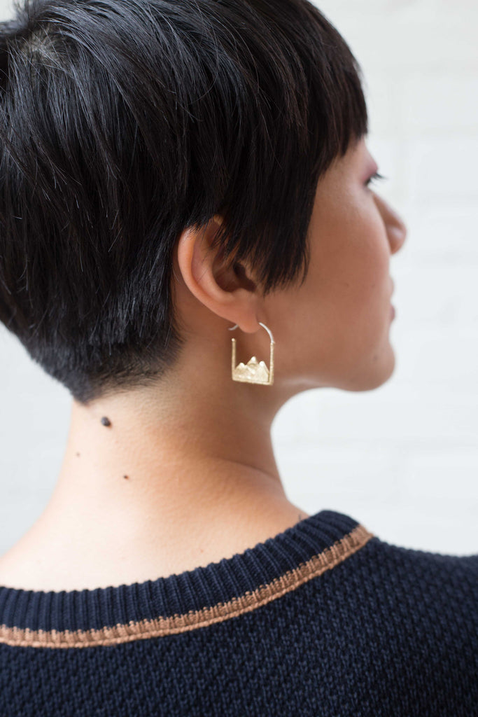 Stefanie Sheehan Jewelry Earth Earrings Brass Made in New York Victoire Boutique