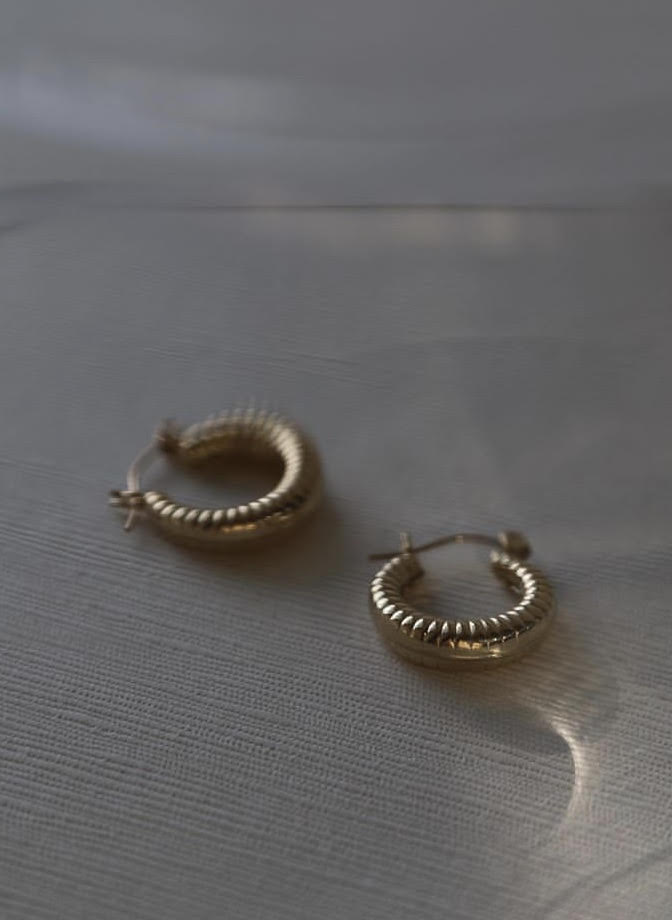 Lisbeth Jewelry Toronto Canada Cindy Hoop Earrings 14K Gold Sterling Silver.