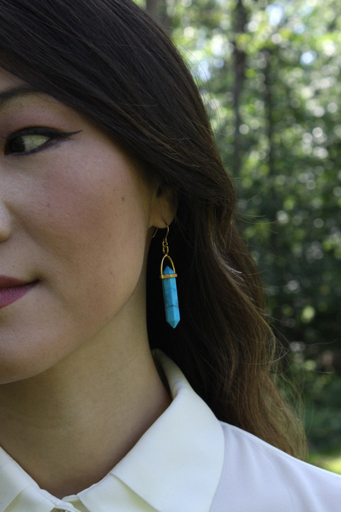 Sarah Mulder Spiral Earrings Turquoise