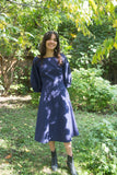 Ursa Minor Clothing Montreal Grace Dress Midnight Blue Navy. Long Sleeve Fitted Long Empire Waist Dress with Scoop Neck.
