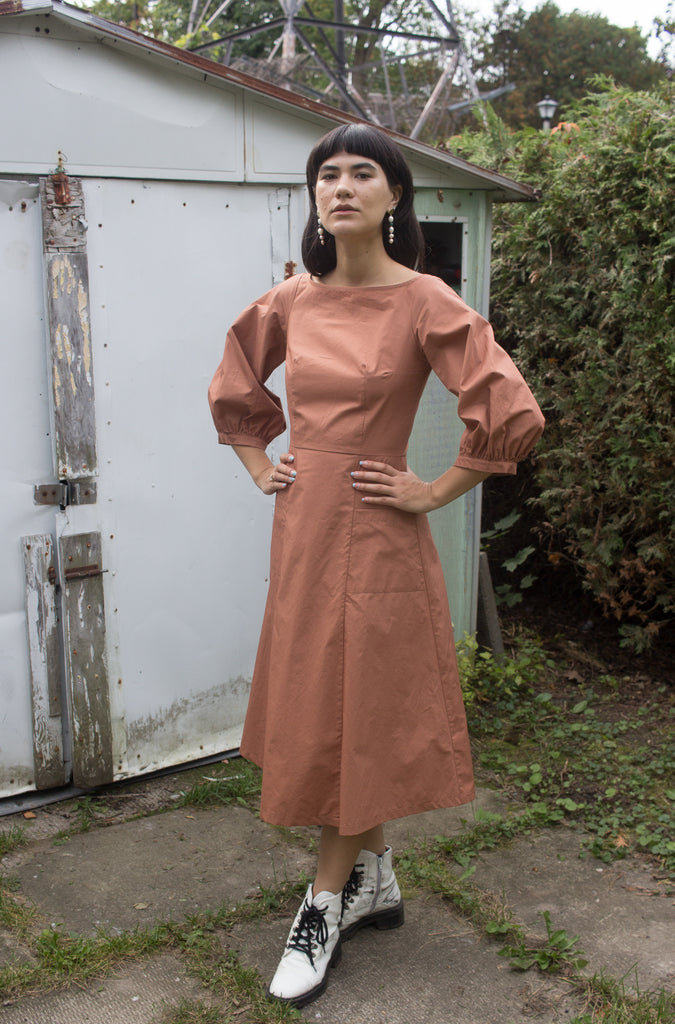 Ursa Minor Clothing Montreal Grace Dress Russet Orange. Long Sleeve Fitted Long Empire Waist Dress with Scoop Neck.