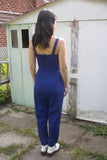 Birds of North America Clothing Toronto Canada Crossbill Jumpsuit Sapphire Royal Blue. Full Body Tank Tailored Fitted Stretch Cropped Jumpsuit with Pockets.