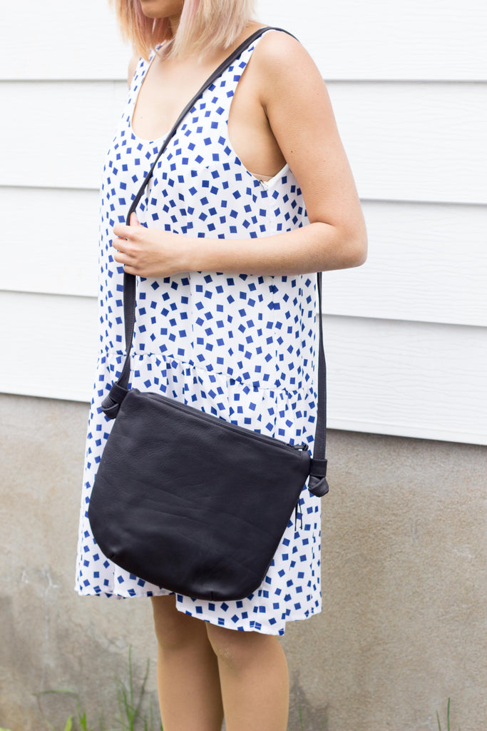 Erin Templeton Leather Bags BYOB Bag in Black Leather Made in Vancouver, BC Canadian Fashion Victoire Boutique