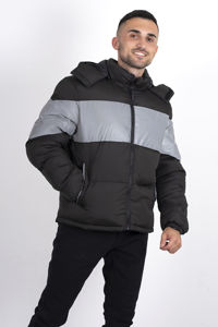Black Padded Reflective Panel Puffer Jacket