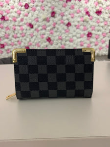 Grey Checkered Purse