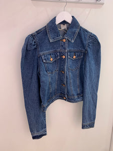 Puffed sleeve denim jacket