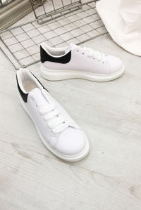 White & Black Chunky Sole Trainer