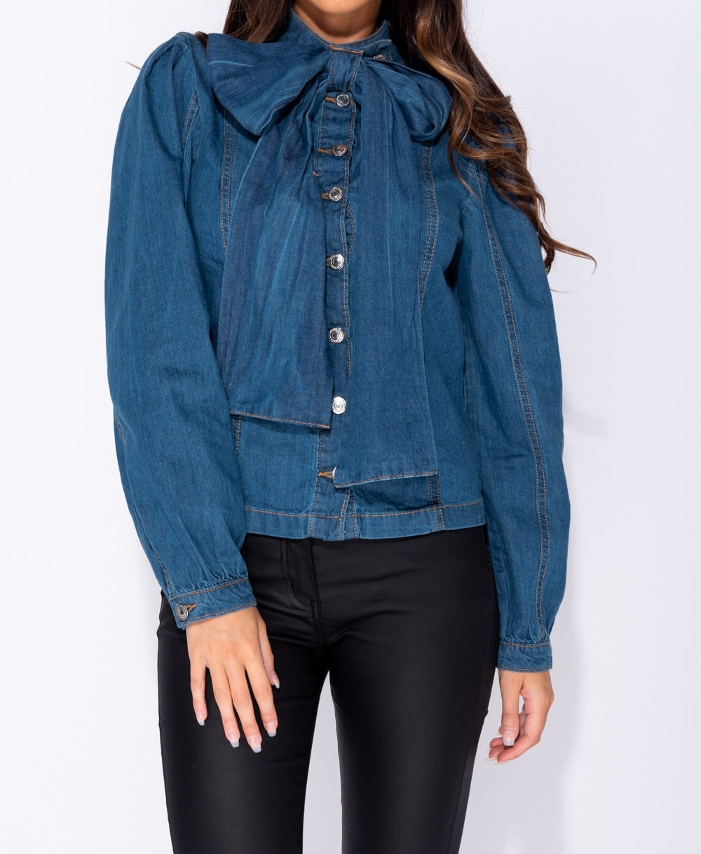 Button Front Pussy Bow Long Sleeve Denim Blouse