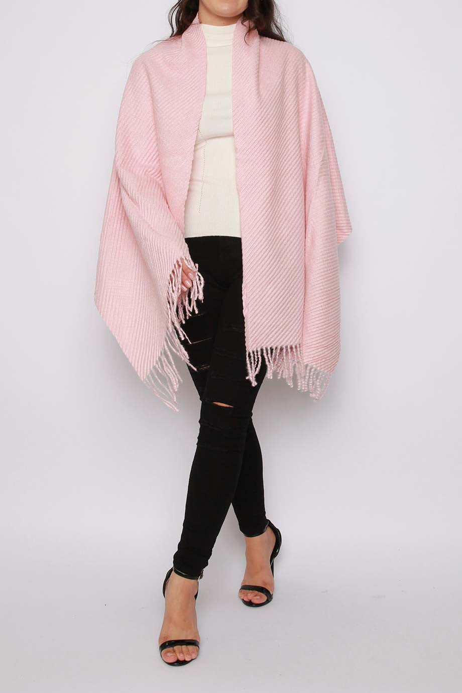Ribbed Knitted Scarf Pink