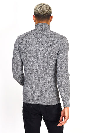 Ribbed Grey Roll Neck Jumper