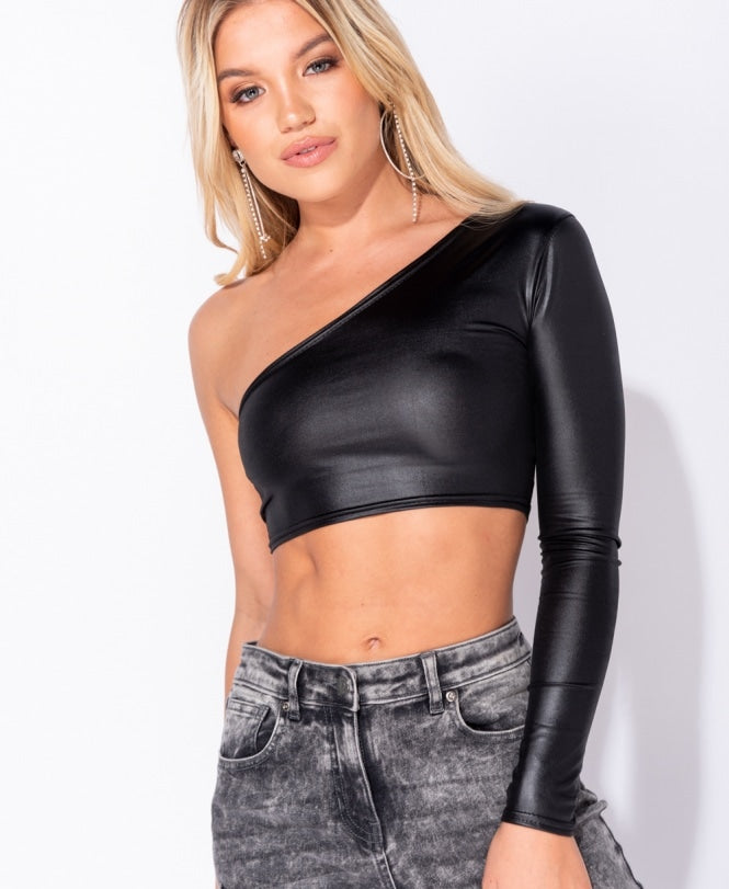 Wet Look One Shoulder Long Sleeve Crop Top