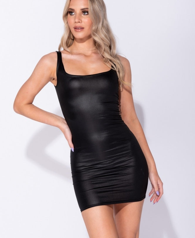 Wetlook Scoop Neck Bodycon Dress