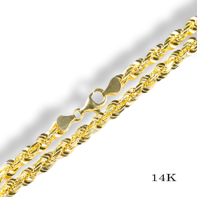 DIAMOND CUT ROPE CHAIN 3.5MM 10KT SOLID GOLD