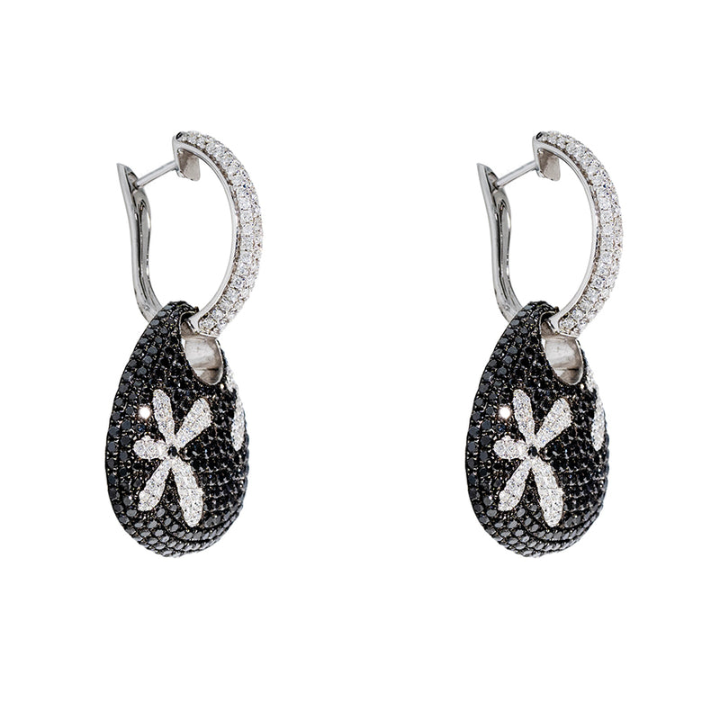 Flower Earrings With Black And White Diamonds