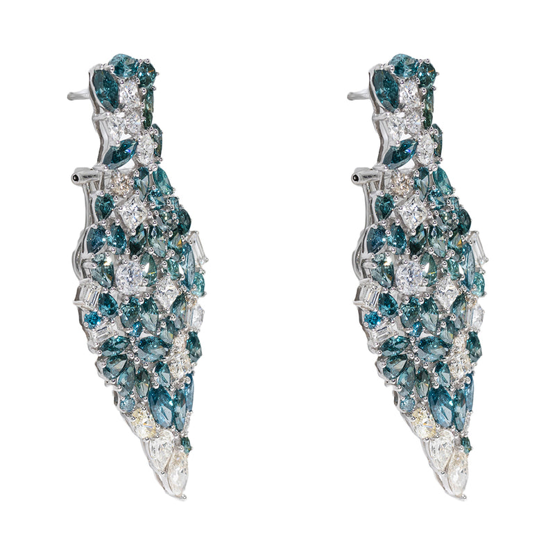 Chandeliers Earrings With Emeralds And Blue Diamonds