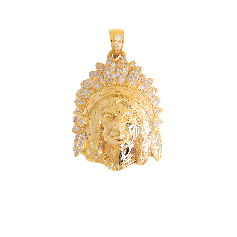 Indian Chief Pendant With Diamonds