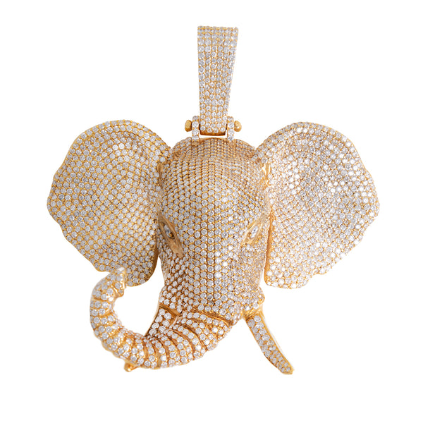 Large Elephant Head Pendant With Diamonds