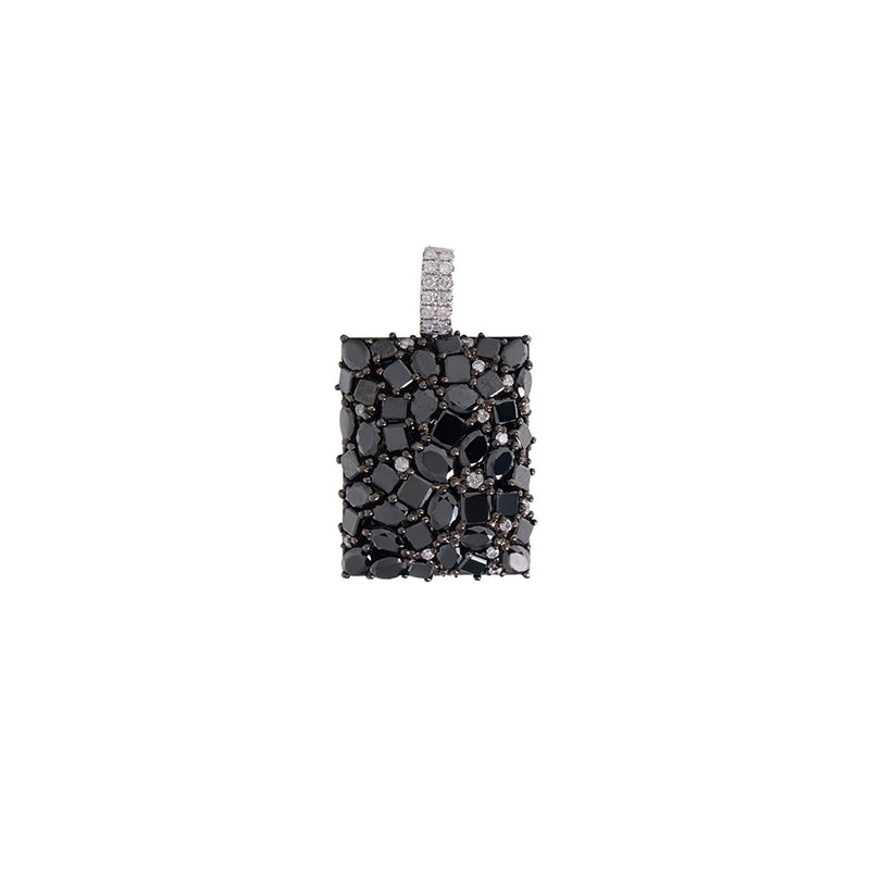 18kt Gold Squared Pendant With Black Diamonds