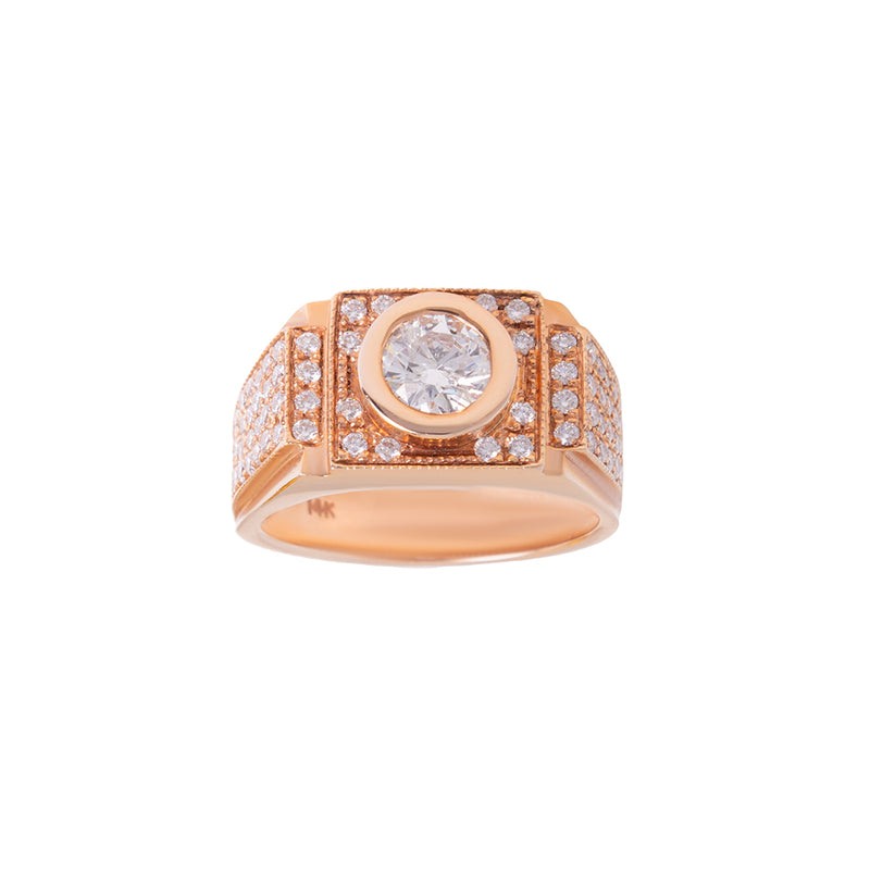 1.0ct Center Stone Ring For Men With Diamonds