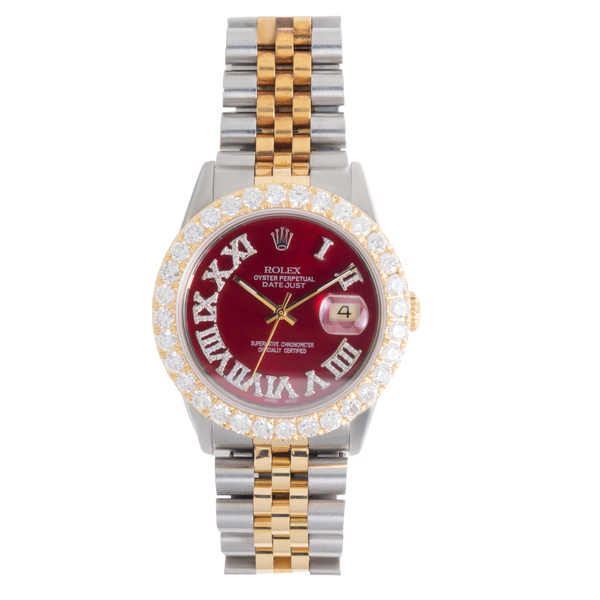 Rolex Oyster Perpetual DATEJUST With Diamonds Red Face