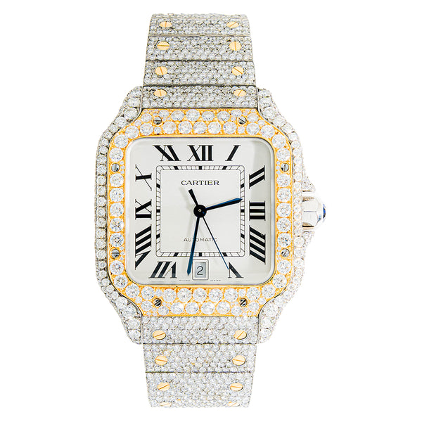 Mens Custom Cartier Santos With After Market Diamonds