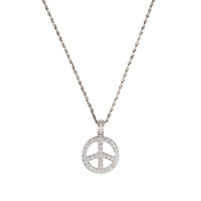 Peace Woman Chain With Diamonds