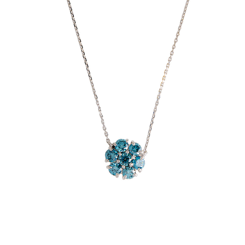Flower Necklace With Blue Diamonds