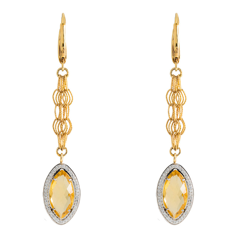 Diamond Earrings With Yellow Stones