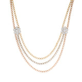 Three Tone Rosery Chain With Diamonds