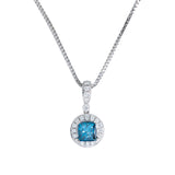 Blue Diamond Pendant With Chain