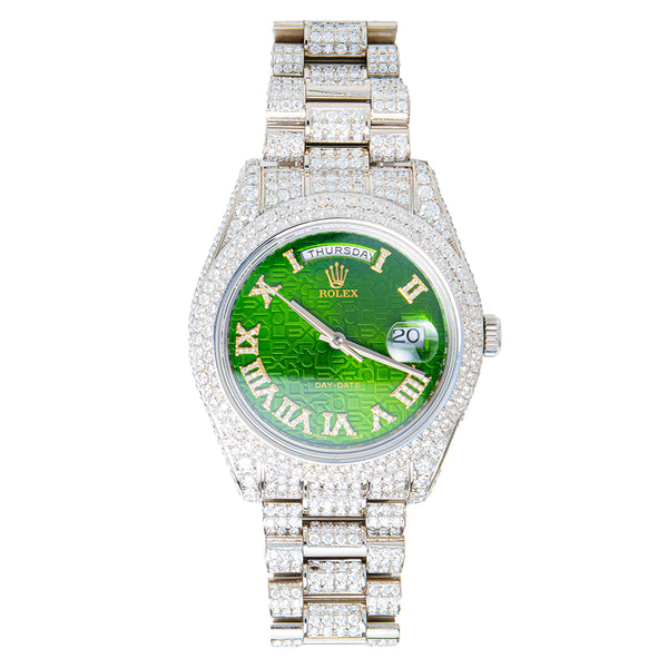 Rolex Day-date Fully Iced Out Green Face