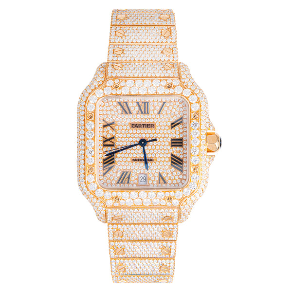 Cartier Santos Fully Iced Out