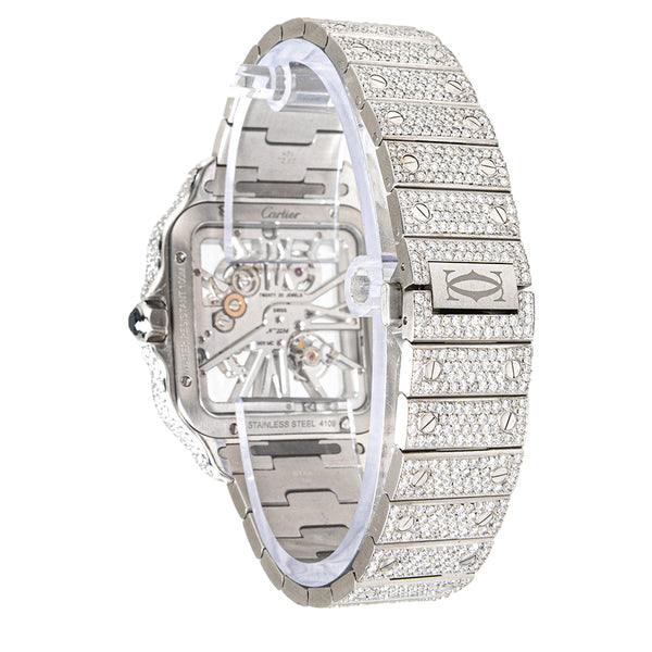 Cartier Santos de Cartier Skeleton Fully Iced Out