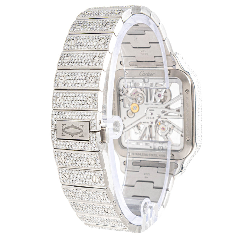 Cartier Santos de Cartier Skeleton Fully Iced Out Two Tone