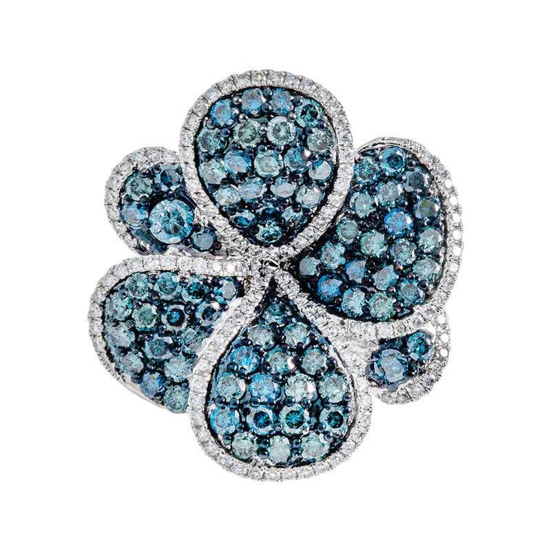 Flower Ring With Blue Diamonds
