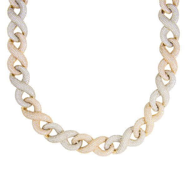 2 Tone Infinity Link Chain With Diamonds