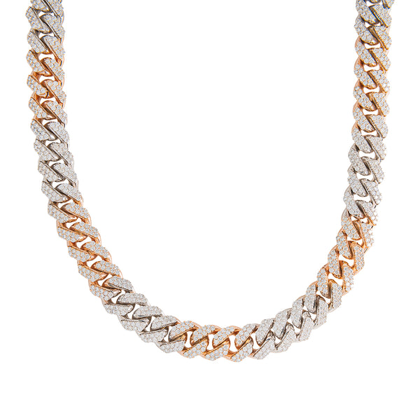 2 Tone Miami Cuban Link Chain With Diamonds