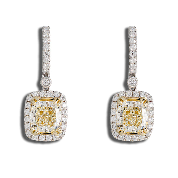 Center Stone Earrings With Normal And Yellow Diamonds