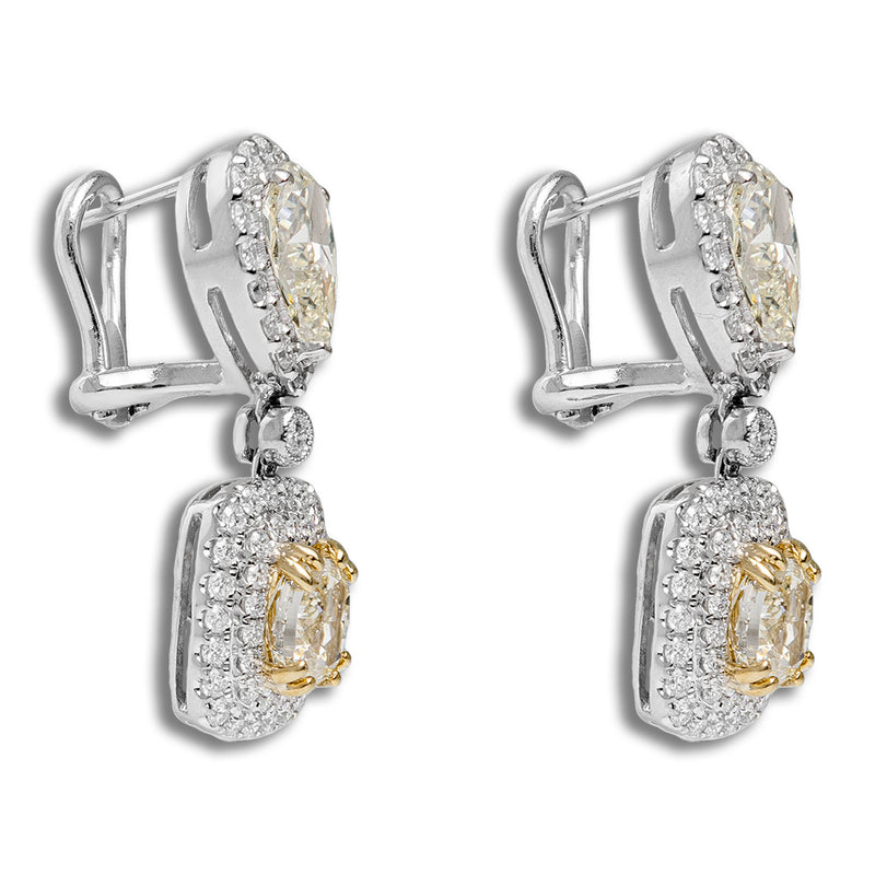 Earrings With Fancy Yellow Stones And Diamonds